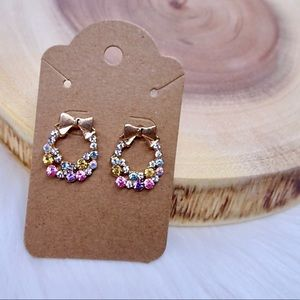 Jewelry - Pink and blue bow and wreath stud earrings